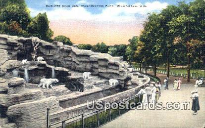 Barless Bear Den, Washington Park - MIlwaukee, Wisconsin WI Postcard