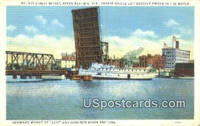 Walnut Street Bridge - Green Bay, Wisconsin WI Postcard