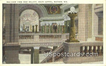 East Gallery, State Capitol - Madison, Wisconsin WI Postcard