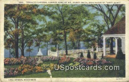 Summer Home of Mr Sidney Smith - Lake Geneva, Wisconsin WI Postcard