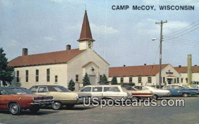 Main Exchange & Chapel - Camp McCoy, Wisconsin WI Postcard