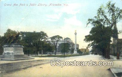 Grand Ave Park & Public Library - MIlwaukee, Wisconsin WI Postcard