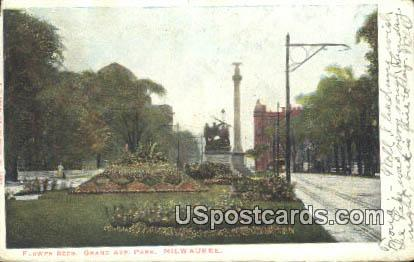 Flower Beds, Grand Ave Park - MIlwaukee, Wisconsin WI Postcard