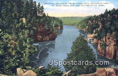 Dalles, St Croix River - Taylors Falls, Wisconsin WI Postcard