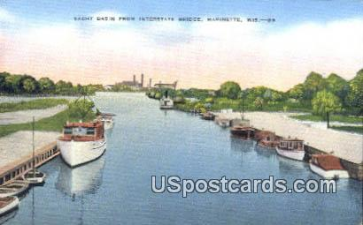 Yacht Basin, Interstate Bridge - Marinette, Wisconsin WI Postcard