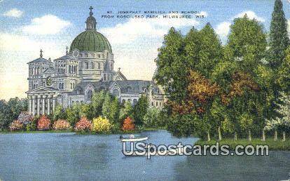 St Josephat Basilica & School - MIlwaukee, Wisconsin WI Postcard