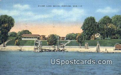 Silver Lake Beach - Portage, Wisconsin WI Postcard
