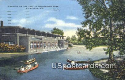 Pavilion, Lake in Washington Park - MIlwaukee, Wisconsin WI Postcard