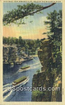 High Rock, Romance Cliff - Dells Of The Wisconsin River Postcards, Wisconsin WI Postcard