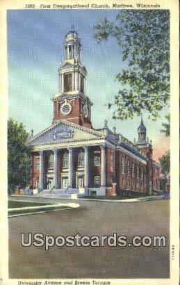 First Congregational Church - Madison, Wisconsin WI Postcard