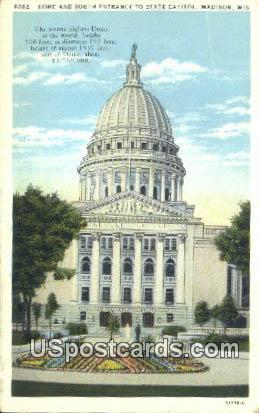 Dome, State Capitol - Madison, Wisconsin WI Postcard