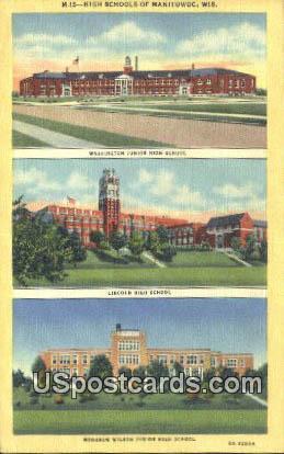 High School - Manitowoc, Wisconsin WI Postcard