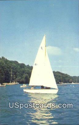 Sailboating - Lake Geneva, Wisconsin WI Postcard