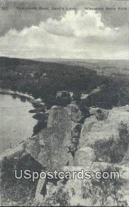 Tomahawk Rock, Devil's Lake - Wisconsin State Park Postcards, Wisconsin WI Postcard
