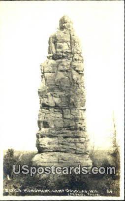 real photo - Devil's Monument - Camp Douglas, Wisconsin WI Postcard