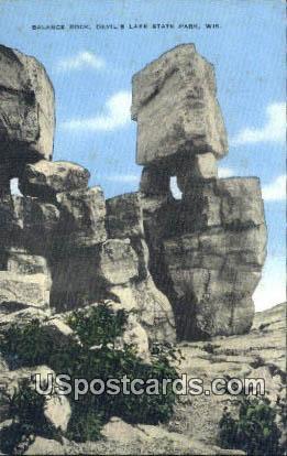 Balanced Rock - Devil's Lake State Park, Wisconsin WI Postcard