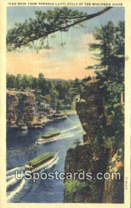 High Rock, Romance Cliff - Wisconsin River Postcards, Wisconsin WI Postcard