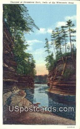 Channel, Steamboat Rock - Wisconsin River Postcards, Wisconsin WI Postcard