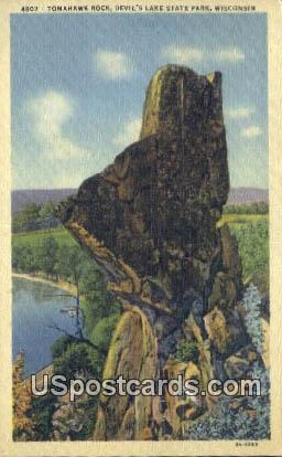 Tomahawk Rock - Devil's Lake State Park, Wisconsin WI Postcard