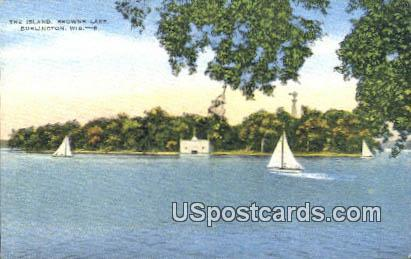 The Island, Browns Lake - Burlington, Wisconsin WI Postcard