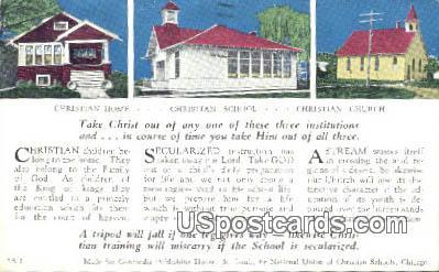 Christian Home, School, Church - La Crosse, Wisconsin WI Postcard