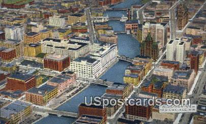 Downtown - MIlwaukee, Wisconsin WI Postcard