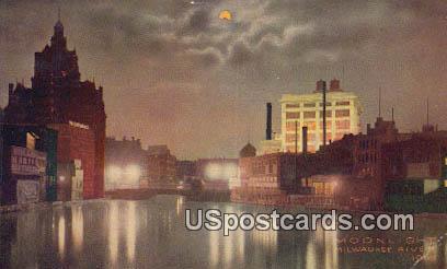 Moonlight - Milwaukee River, Wisconsin WI Postcard