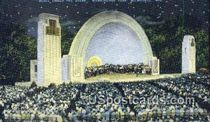 Music, Washington Park - MIlwaukee, Wisconsin WI Postcard