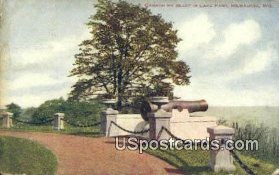Cannon on Bluf, Lake Park - MIlwaukee, Wisconsin WI Postcard