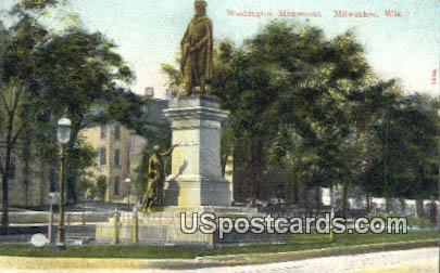 Washington Monument - MIlwaukee, Wisconsin WI Postcard