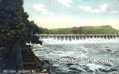 Dell's Dam - Eau Claire, Wisconsin WI Postcard