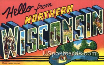 Greetings from, WI Postcard      ;      Greetings from, Wisconsin