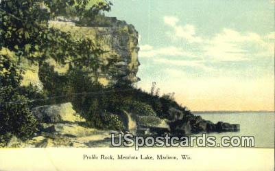 Profile Rock, Mendota Lake - Madison, Wisconsin WI Postcard
