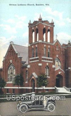 German Lutheran Church - Baraboo, Wisconsin WI Postcard