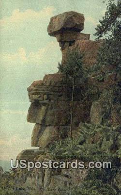 Stone Face - Devil's Lake, Wisconsin WI Postcard