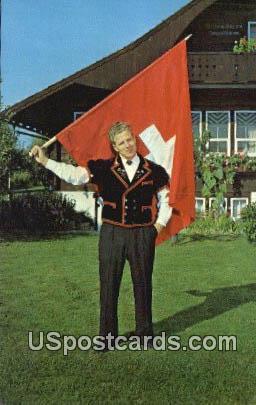 Swiss Flag Thrower - New Glarus, Wisconsin WI Postcard