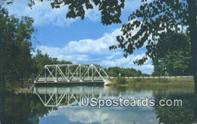 Bridge & River, Bradley Dam - Tomahawk, Wisconsin WI Postcard