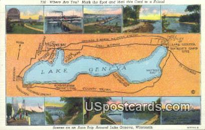 Auto Trip - Lake Geneva, Wisconsin WI Postcard