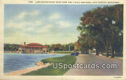 Lake Shore Drive - Lake Geneva, Wisconsin WI Postcard