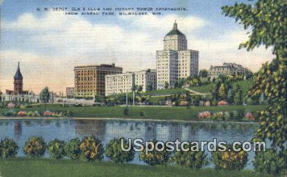 NW Depot, Elk's Club - MIlwaukee, Wisconsin WI Postcard