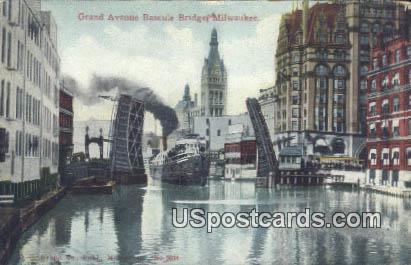 Grand Avenue, Bascule Bridge - MIlwaukee, Wisconsin WI Postcard