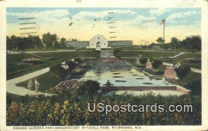 Sunken Gardens & Conservatory - MIlwaukee, Wisconsin WI Postcard