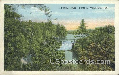 Duncan Falls - Chippewa Falls, Wisconsin WI Postcard