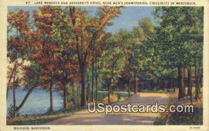 Lake Mendota & University Drive - Madison, Wisconsin WI Postcard