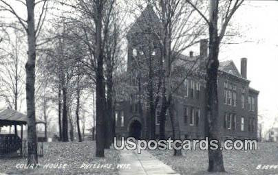 real photo - Court House - Phillips, Wisconsin WI Postcard