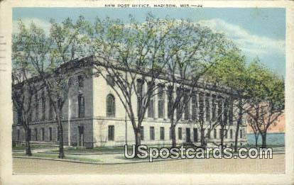 New Post Office - Madison, Wisconsin WI Postcard