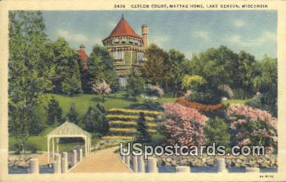 Ceylon Depot, Maytag Home - Lake Geneva, Wisconsin WI Postcard