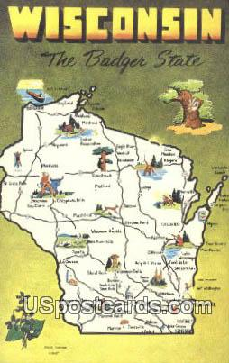 Greetings from, Wisconsin Postcard      ;      Greetings from, WI