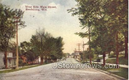 West Side Main Street  - Reedsburg, Wisconsin WI Postcard