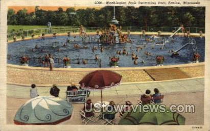 Washington Park Swimming Pool  - Racine, Wisconsin WI Postcard